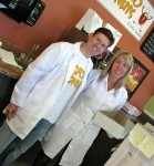 Co-owner Jordan Zweigoron in a lab coat with an employee in a nurse's uniform