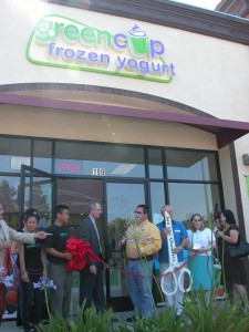 Cutting the ribbon at Green Cup Yogurt