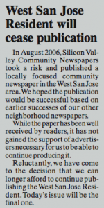 This small article was the only announcement of the West San Jose Resident's demise.