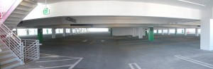 An entire level of open parking spaces