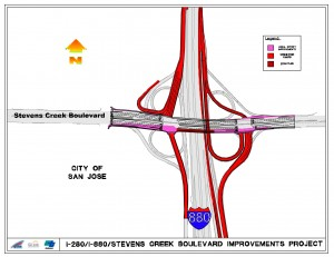 Changes to the I-880/Stevens Creek interchange