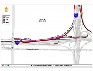 One proposed design for the I-280 / Winchester exit